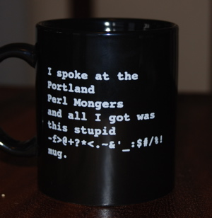 I spoke at the Portland Perl Mongers... mug